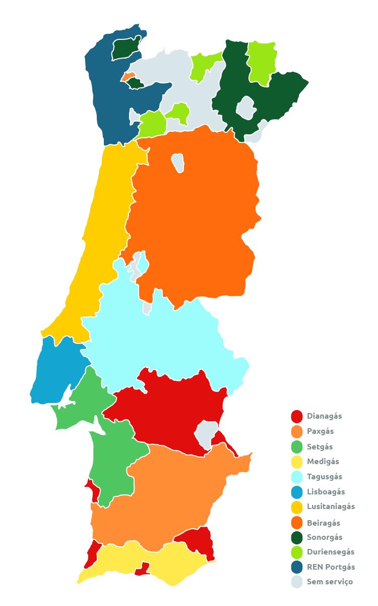 mapa distribuidoras gás Portugal